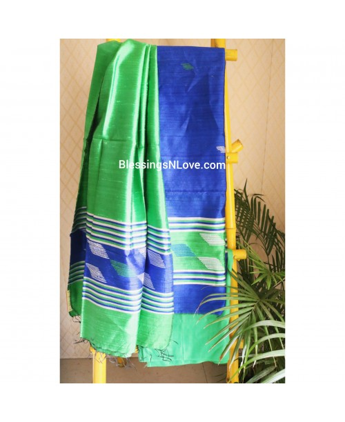 Pure Dupian Silk Green and Blue Suit Set