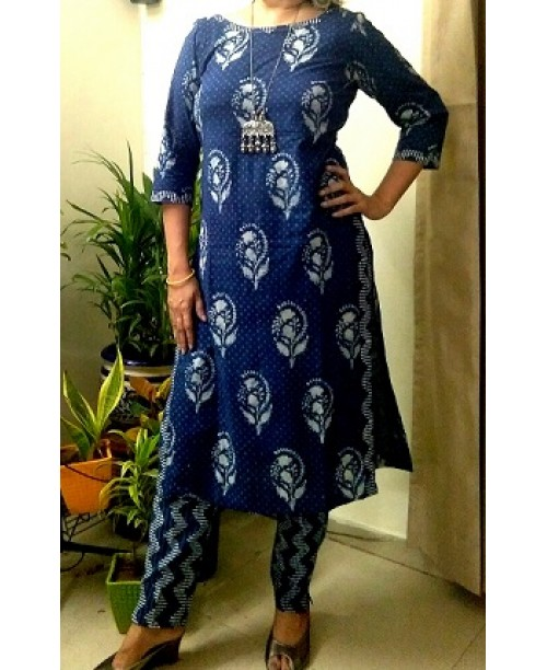 Indigo Hand Block Print Kurta With Straight Pants