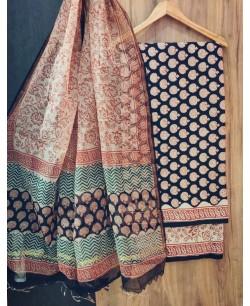 Black And Beige Cotton Block Print Suit
