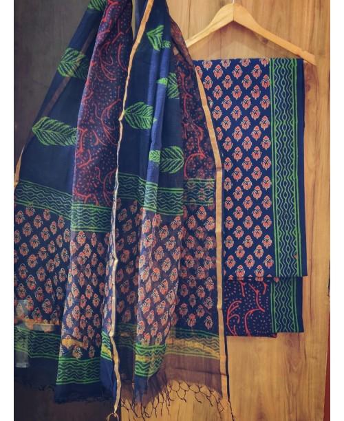 Blue Block Print Cotton Suit