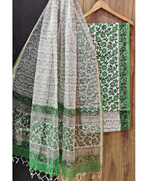 Green White Block Print Suit