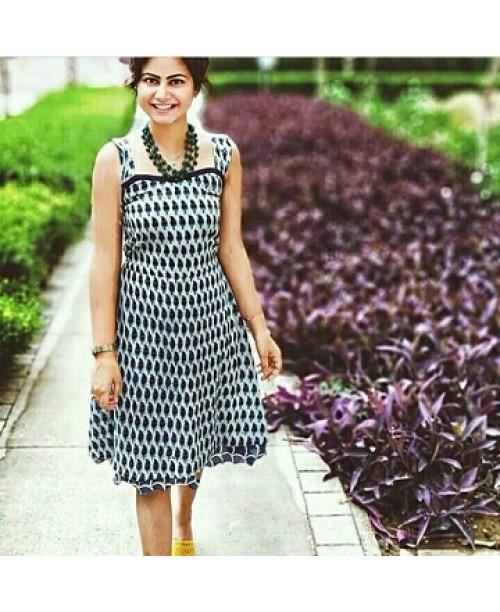 Indigo Block Print Dress