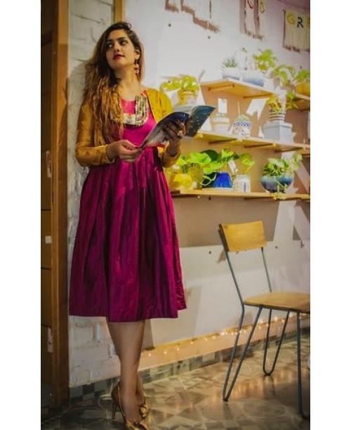 Wine Pleated Dress With Jacquard Silk Jacket