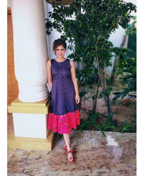 Blue Midi Dress with Pink Frills