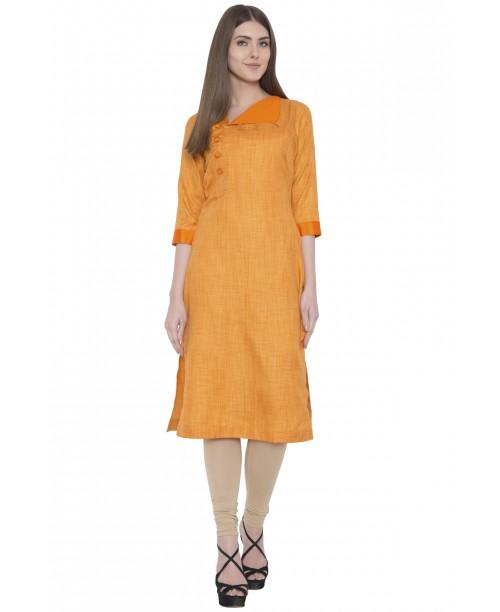 Orange Khadi Silk Kurta