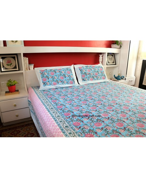 Blue And Pink Floral Double Bedsheet