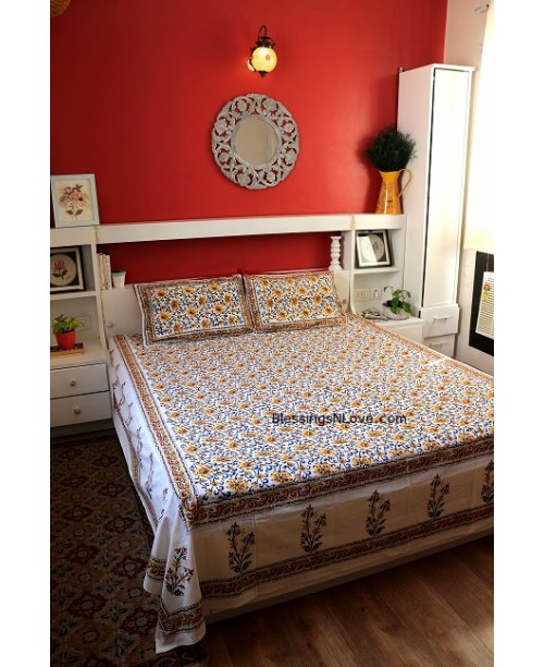 White And Yellow Floral Double Bed Sheet