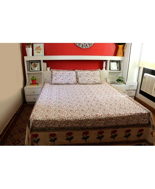 White Cotton Double Bedsheet With Red Floral Block Prints