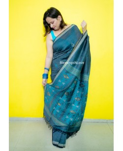 Dhakai Jamdani Saree - Cotton By Linen
