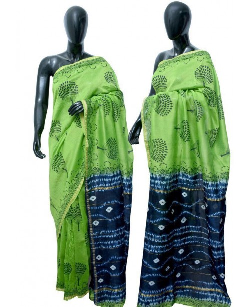 Chanderi Block print saree